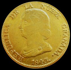 1843 Gold Colombia 16 Pesos Diez I Seis Coin Bogota Mint