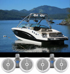 2 Rockville Dwb80w Dual 8 White 1600w Marine Wakeboard Tower Speaker Systems