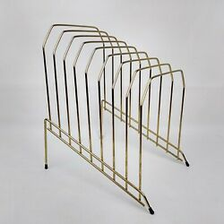Vintage Style Brass Wire File Holder Magazine Rack Record Plates Slotted Mcm