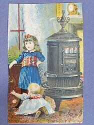 Anitque Ad/card 1880's Round Oak Stoves Girl And Baby Playing By Stove