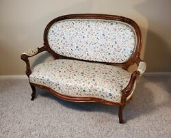 Antique Louis Xvi Style Cameo Back Sofa - Wood Carved - Late 19th Century Settee