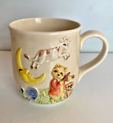 Vintage Hey Diddle Diddle Mug Quon Quon 1983 Ceramic Nursery Rhymes Cow Moon C9