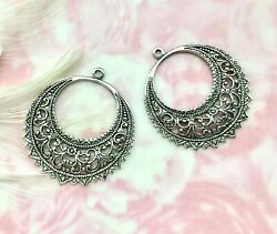 Antique Silver 1 Pair Gypsy Boho Filigree Earring Hoops Stamping E-237 Dap