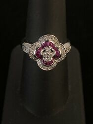 Ladies 14k White Gold Flower-shaped Ruby And Diamond Ring Size 7