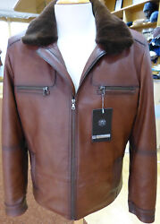 New Men's Lamb Nappa Real Leather Jacket With Velvet Mink Inner Lining Real Mink