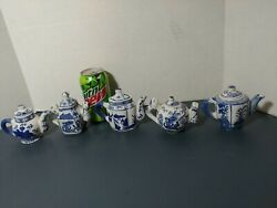 5 Miniature Blue And White Ceramic Teapots W/ Lids Decorative Floral Made In China