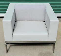 Modern Martin Brattrud One Collection Chrome Light Grey Leather Lounge Chair 5