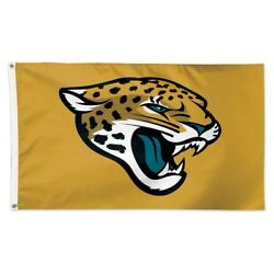 Jacksonville Jaguars Gold Back Ground 3and039x5and039 Deluxe Flag Brand New Wincraft