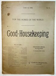 Super Rare Early Good Housekeeping Magazine - 1885 Vol 1 No. 3 Hard To Find