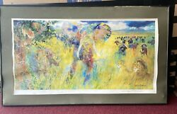 Framed Leroy Neiman Big 5 African Wildlife Lithograph Signed 44.25andrdquox 25.25andrdquo