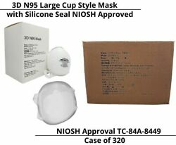 N95 Face Mask Aok 3d Niosh Approved With Silicone Seal Size Large - Case Of 320