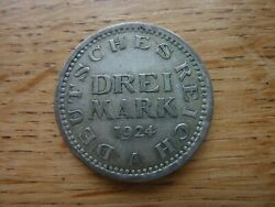 1924a Germany Silver 3 Mark Coin Ref16a