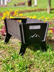 Personalized Charcoal Grill Portable Collapsible Barbecue, Bbq, Camping Fire Pit