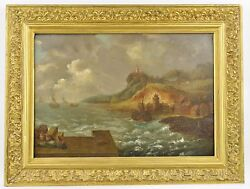 Antique Oil Painting On Wood Gold Frame - Ships Port Sea Storm