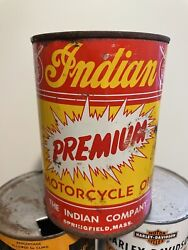 Vintage Original 1930-40's Indian Motorcycle Qt Can Oil Full Springfield Mass