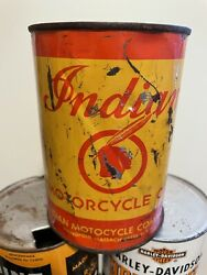 Vintage Original 1920-30's Indian Motorcycle Qt Can Oil Full Springfield Mass