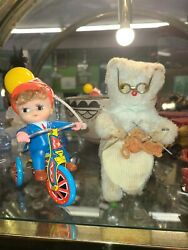Vintage Wind Up Toys Knitting Bear, Rabbit Playing Drumm Bicycle Boy All Working