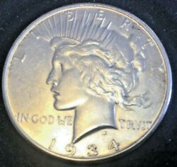 1934-s Peace Silver Dollar High Au Details Cleaned Rare Date Great Luster