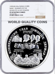 Russia 1995 Silver 1 Kilo 100 Summits Of The Heads Of Allied Powers Ngc Pf69