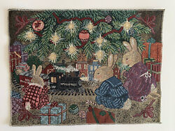 """Christmas BUNNY🐰 Pillow Panel Jacquard Tapestry Fabric Project NEW 17"""" X 13"""""""