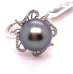 14k White Gold Vintage 12.5mm Tahitian Pearl Cocktail Ring With Diamonds Size 7
