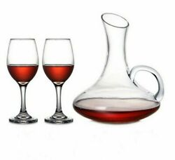 Lead-free Transparent Glass Luxury Wine Decanter With Goblet Set 1500ml + 330ml