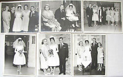Judaica Lot Of 6 Old Large Photos Of A Jewish Wedding, Signed By Photographer