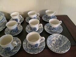 Crown Clarence Vintage Fine China Made In England, Blue Scenes Ccacca1