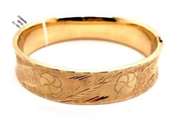 Antique 14 K Yellow Gold Floral Engraving And Monogram Panel Bangle