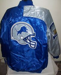Detroit Lions Starter Ty Mopkins Throwback Jacket Blue/silver 3x 4x
