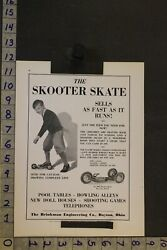 1930 Toy Ad Skooter Skate Brinkman Engineering Co Dayton Oh Board Roller Tb74