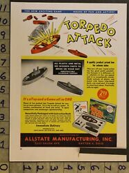 1947 Torpedo Attack Game Allstate Dayton Military Boat Ship 2-pg Toy Ad Ts27