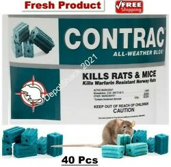 40 Pcs Contrac Blox Professional Mouse Bait Rat Mice All Weather Rodenticide