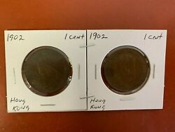 Lot Of 2 1902 Hong Kong One 1 Cent Large Copper Penny Higher Grade Edward Vii