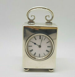 19th C Antique Miniature Jtc Solid Silver Carriage Clock Swiss