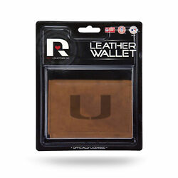 Miami Hurricanes Embossed Brown Leather Trifold Wallet