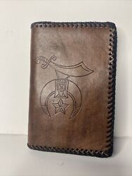 Vintage Free Mason Masonic Hand Tooled Leather Wallet With Picture Holder