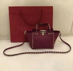 Auth Valentino Rockstud Double Handle Bag W/shoulder Strap Wine Red Used Japan