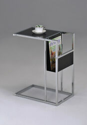 Kings Brand - Black Glass And Chrome Accent Snack Table With Magazine Rack