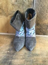 Isabel Marant Women#x27;s Kate Suede Leather Corduroy Wedge Boots Gray Retail $1090 $189.99
