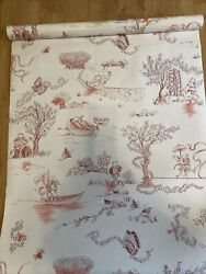 2 Rolls Double Schumacher Wall Paper New Partial Sch-02 Pink Red New 60 Sq Ft