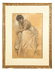Pastel Painting Well Listed Artist Frank Tenney Johnson Female Beauty Figure