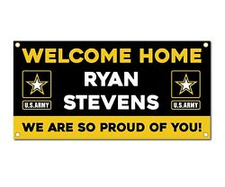 Welcome Home U.s. Army / United States Military Customizable - Vinyl Banner