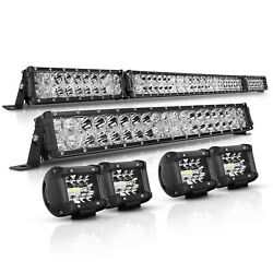 52inch Led Light Bar Combo + 22in+4x4 Cube Pods Offroad For Jeep Wrangler Jk Ck