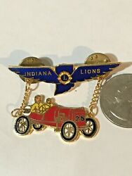 Lions Club International Pin Back Tie Tack Indiana 1979 Md25 Racing Wings Vintag