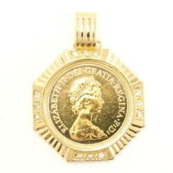 Sovereign 1pound British Coin 22k Yellow Gold 18k Pendant Top Free Shipping Used