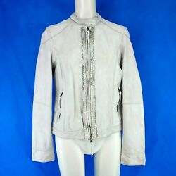 Trapper Ladies Women's Jacket Leather Lamb Nappa Kate White Size 36 S New