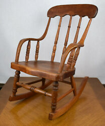 Vintage Antique Turned Wood Bentwood Childs Rocking Rocker Chair 23 Tall