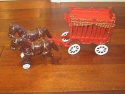 Vintage Cast Iron Overland Circus Horse Drawn Wagon Toy