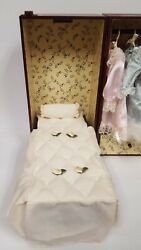 Vintage Folding Wooden Doll Carry Case - Fold Out Bed, Clothes, Hangers 13x12x